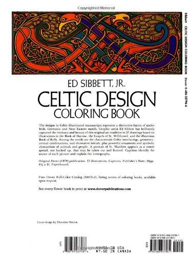 Celtic Design Coloring Book Dover Books Ed Sibbett Jr 0800759237968 Amazon