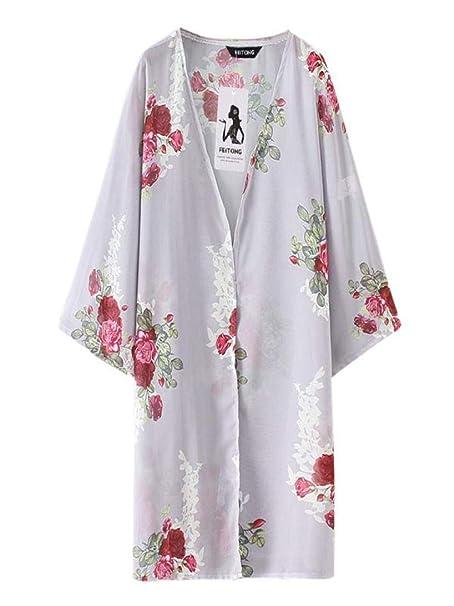 Blusas Mujer Elegantes,Verano Cárdigan Media Mangas Floreada Moda Diario Casuales Suelto Delgado Camiseta Top