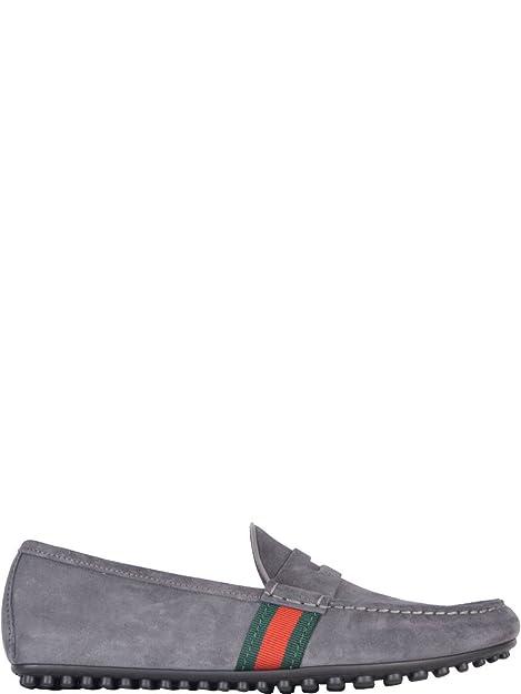 Gucci Hombre 407411CMAK01260 Gris Gamuza Mocasín: Amazon.es: Zapatos y complementos