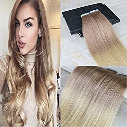 """HairDancing 14"""" Ombre Tape in Hair Extensions Color #18 Dark Ash Blonde to #613 Bleach Blonde Full Head Tape Hair Extensions Human Hair Remy Seamless Hair Extensions 50g 20Pcs"""