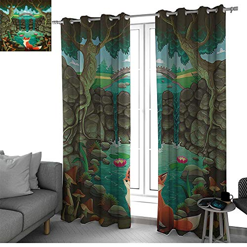bybyhome Cartoon Room Divider Curtain Screen Partitions Fox Near The Pond Mushrooms Waterlilies and a Waterfall Illustration Small Window Curtain Forest Green Sky Blue W108 x L108 ()