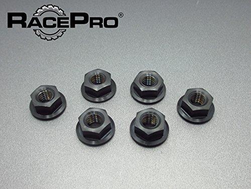 (RacePro - 6x M10 x 125 Black Kawasaki Gr5 Titanium Flange Nuts Fine Sprocket)