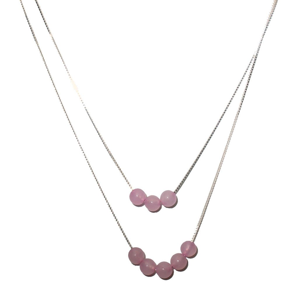2-Strand Rose Quartz Stone Beads Sterling Silver Box Chain Necklace Adjustable 20''+2''