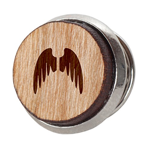 Angel Wings Stylish Cherry Wood Tie Tack- 12Mm Simple Tie Clip with Laser Engraved Design - Engraved Tie Tack Gift