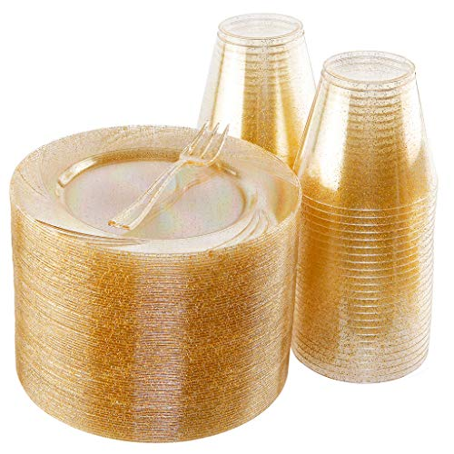 BUCLA 100pack Gold Glitter Plastic Plates 6.5inch -100pack Plastic Dessert Forks 5inch-100Pack Disposable 9oz Gold Glitter Plastic Cups- Perfect for Weddings& Parties ()