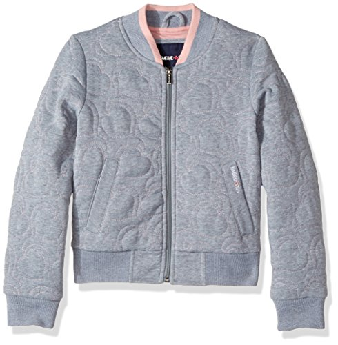 LiMiTeD Too Toddler Girls' Too Heart Quilt Fleece Bomber, Heather Grey, (Girls Quilted Bomber Jacket)