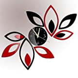 Toprate Mirror Wall Clock, Red and Black Rhombus Leaves Sticker Decoration Picture