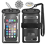 Universal Waterproof Case, OTBBA Cellphone Dry Bag Double Insurance Underwater Pouch for iPhone 6 7 Samsung S7 S8 HTC LG Sony Nokia Pixel Motorola, Up to 6.3 Inch Diagonal-(Black)