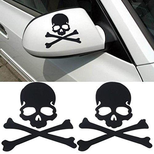 LANDFOX Skull Design 3D Decoration Sticker For Car Side Mirror Rearview Black