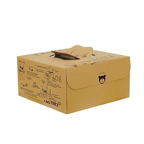 Zhi Jin 2pcs Oso asa Kraft Cajas de cartón cuadradas para Tartas Galletas panadería contenedor con