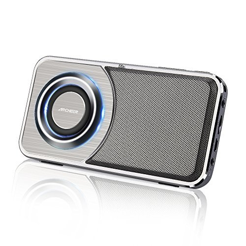 Archeer Bluetooth Speakers with Pocket Radio, Ultra Slim Portable Mini Speakers with LED Light, Aux-in, Build-in Microphone for iPhone Samsung iPad Tablet Computer - Grey