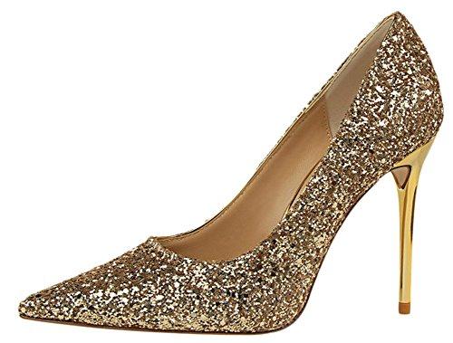 Bevalsa Damen Pumps Pailletten Mary Janes mit Blockabsatz High Heels Plateau 9.5 cm Hochzeit Pumps Slip On Gold