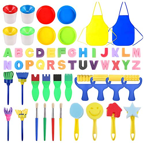 Giveme5 56 PCS Kids Sponge Painting Brush Drawing Set Paint Sponge Tools with Painting Apron, Sponge Foam Stamp, 26 Alphabets, Paint Bowls and Brush Barrel for Children Doodle, Sharing Paints (56 PCS)