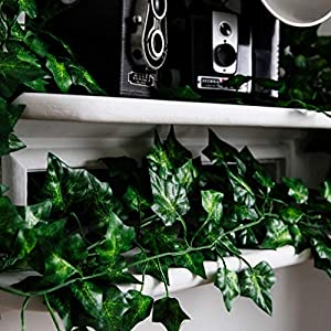 Hanging Fake Greenery Plants for Decoration: Artificial Ivy Plant Wall Decorations for Fairy Party, Wedding Backdrop - 78 Feet of Faux Ivy Garland Vine / Leaves with 5 Hooks - 6.5 Foot Vines, 12 Pack 3