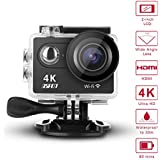 GSPON Wifi Action Camera 4K Ultra HD 12MP 30M Waterproof DV Camcorder 170 Degree Wide Angle Lens Sports Camera 2 Inch LCD Screen with Accessories Kit for Outdoor Cycling Swimming Surfing (Black-1)