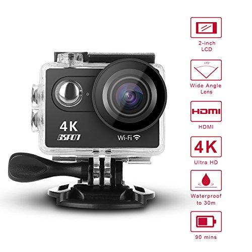 GSPON Wifi Action Camera 4K Ultra HD 12MP 30M Waterproof DV Camcorder 170 Degree Wide Angle Lens Sports Camera 2 Inch LCD Screen with Accessories Kit for Outdoor Cycling Swimming Surfing (Black-1) from GSPON
