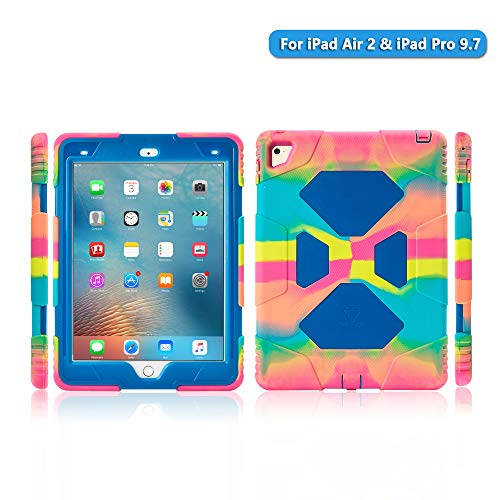 iPad Air 2 case iPad Pro 9.7 Case for Kids Full Body Heavy Duty Shockproof Cover Case with Removable Kickstand & Built-in Screen Protector for Apple iPad Air 2 iPad Pro 9.7 (2016) (Ice/Blue)