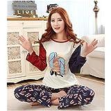 KAKA(TM) Women's Fashion Cartoon Colorful Grid Bear Pure Cotton Pyjamas Homewear Sleepwear Set Long Sleeve Long Pants-XL