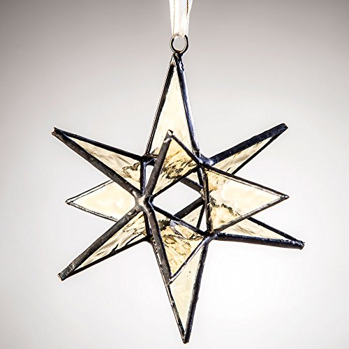 J Devlin Orn 250 Stained Glass Moravian Star Christmas Ornament or Sun Catcher Dimensional 4 1/2 x 4 1/2 ()