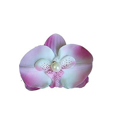 Voice Tattoo Barrette Pince Cheveux Fleur Orchidee Avec Perle Rose