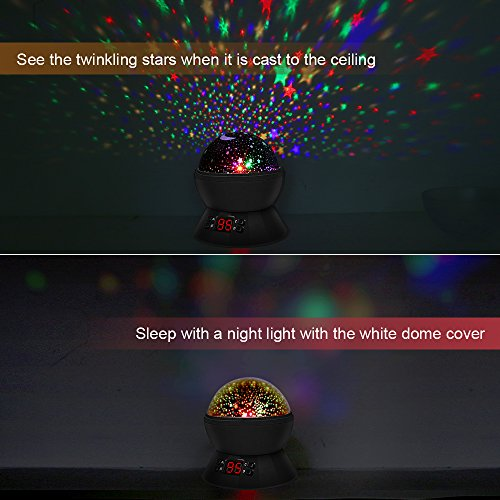 LBell Star Sky Night Light, Rotating Cosmos Star Projector Lamp with LED Timer Auto-Shut Off, Color Changing, USB Cable Plug for Baby Kids Nursery Bedroom Living Room by LBell (Image #5)