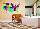 Design with Vinyl Larg 469-93 As Seen Decor Item United States Map of All 52 States Usa North America Kids Boy Girl Bedroom, 15-Inch x 10-Inch