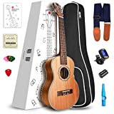 Vangoa Soprano Ukulele Mahogany UK-21M 21 inch Acoustic Ukulele Beginner Bundle with Picks, Nylon Strap, Pick Container, Tuner, Kazoo, Extra Strings, Finger Shaker and Gig Bag