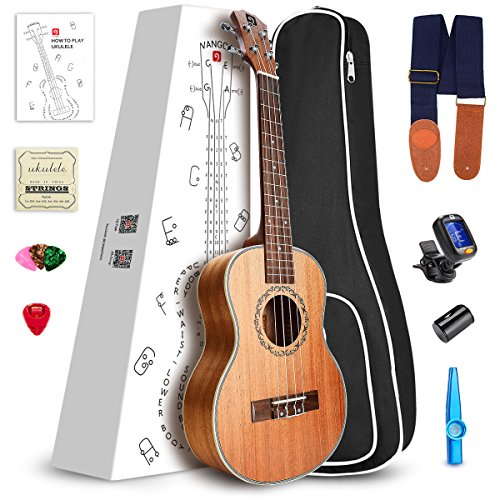 Vangoa Soprano Ukulele Mahogany UK-21M 21 inch Acoustic Ukulele Beginner Bundle with Picks, Nylon Strap, Pick Container, Tuner, Kazoo, Extra Strings, Finger Shaker and Gig Bag by Vangoa