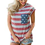 Women's Tops Stripes Star American Flag Print Short Sleeve O Neck Basic Casual Vest T Shirts Blouses (XL, Red)