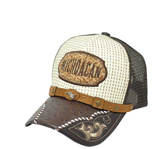 (Rob'sTees Gorra Charra De Michoacan Metal Emblem Woven Mexico Flag Palma Mesh Straw Trucker Cap Dad Hat (Brown))