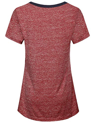 Miusey Yoga Tops for Women, Ladies Short Sleeve Sport Exercise Elastic Petite Activewear Fast Dry Running Solid Color Light Weight Cool Relaxing Wearing Wine M by Miusey (Image #1)