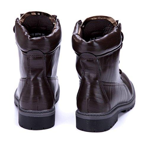 Schuhtempel24 Damen Schuhe Boots Stiefel Stiefeletten Blockabsatz 3 cm Braun