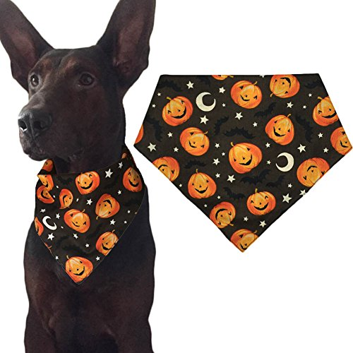 Halloween Dog Bandana Triangle Bibs Scarf Accessories for Cats Pets Animals - Pumpkin Pattern