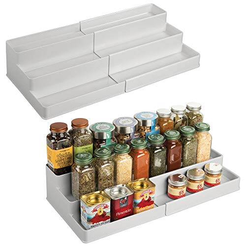mDesign Plastic Adjustable, Expandable Kitchen Cabinet, Pantry, Shelf Organizer/Spice Rack with 3 Tiered Levels of Storage for Spice Bottles, Jars, Seasonings, Baking Supplies, 2 Pack - Light Gray