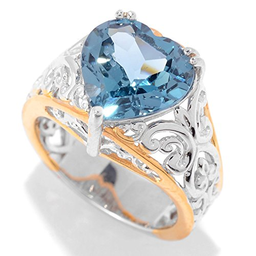 lladium Silver Heart Shaped London Blue Topaz Solitaire Ring (Hearts Ring Palladium Ring)