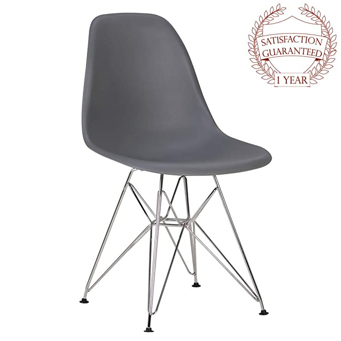 Set of 2,Eames Style Porthos Home EFC026A WHT Dining Chair with Durable Plastic Finish One Size White