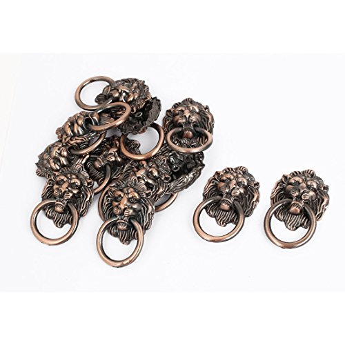 (uxcell Vintage Style Furniture Door Drawer Lion Head Ring Pull Handle 12 Pcs)