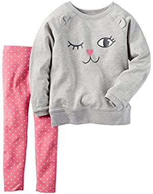 Baby Girls 2 Pc Playwear Sets, Heather