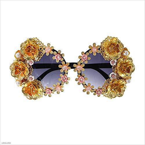 Hechas la de la viaja Flor la Cadena de Vendimia de la de Gafas transportan Que Las polarizadas Mano de de Sol Gafas Mujeres de Oro para Borla a clásicas la Perla Sol Que xBtnP1n0v