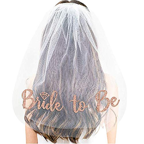 Bridal Shower Supplies Cheap (Rose Gold Print Bride To Be Veil Bachelorette Party Supplies Bridal Shower Decoration Accessories Gift Engagement)