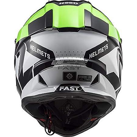 LS2 MX437 Casque de Motocross pour Scooter Chopper Quad VTT Casque de Moto Homme et Femme Int/égral ECE Homologu/é Vert Noir M 57-58cm