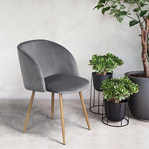 Mid Century Style Living Room Grey Velvet Accent Arm Club Ch