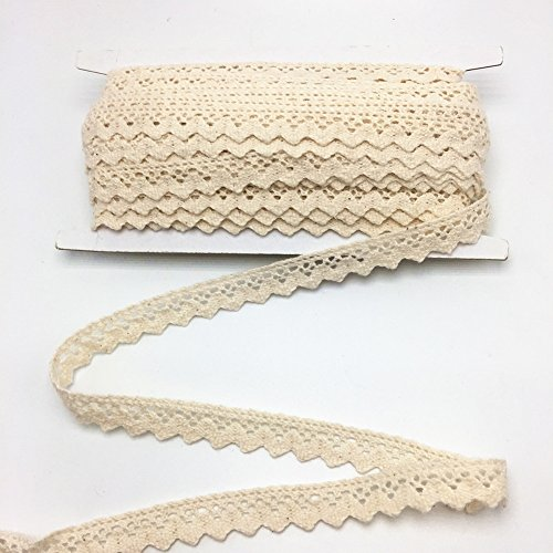 ELLAMAMA Cotton Lace Trim DIY Craft Delicate Ribbon Scallop Edge 1/2 Inch Wide 10 Yards For Gift Package Wrapping, Beige color
