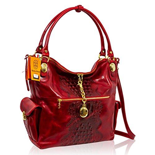 Marino Orlandi Designer Red Alligator Leather Bag & Wallet w/Chain Set