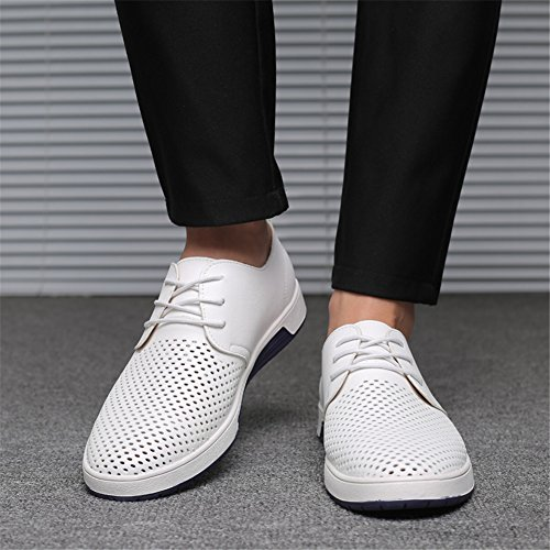 KONHILL Men's Casual Oxford Shoes Breathable Flat Fashion Lace-up Dress Shoes, White, 45 by KONHILL (Image #7)