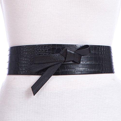 Sunny Belt Women's Snakeskin Elastic Sash Waist Belt with Bow Detail (Black, ()
