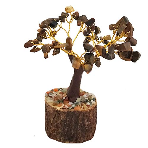 Divya Mantra Feng Shui Natural Tiger Eye Chakra Healing Gem Stone Bonsai Fortune Vastu Plant Sculpture Tree; Good Luck, Wealth, Success & Prosperity; Home Office Table Decor Gift Item; 50 Crystals
