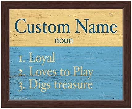 Amazon com: Dog Noun Definition Yellow Blue Customizable Wall Art