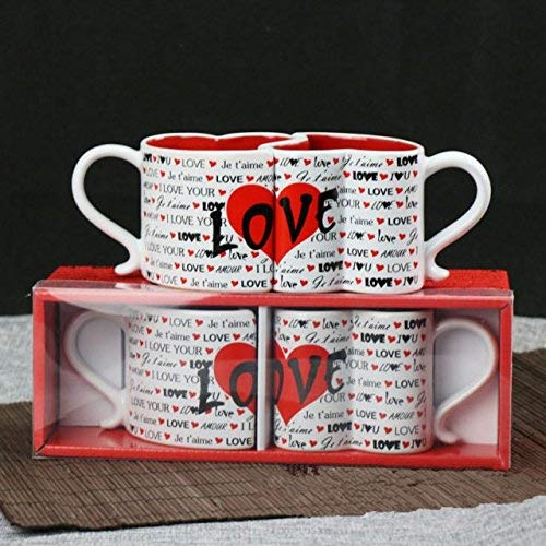 I Love You Kissing Mugs, Set of 2, Coffee Mugs with Heart Shape Design Perfect Gift for Him and Her, Wedding, and Anniversary Present for Bride and Groom, Valentine's Day -