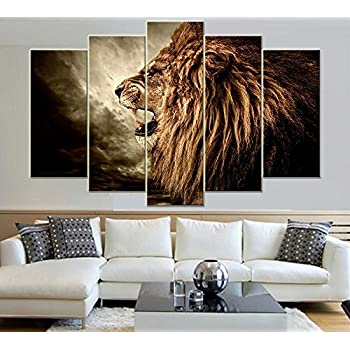 IDECAL 5 Piece Roaring Lion Canvas Print Wall Art Painting Pictures (No  Frame)